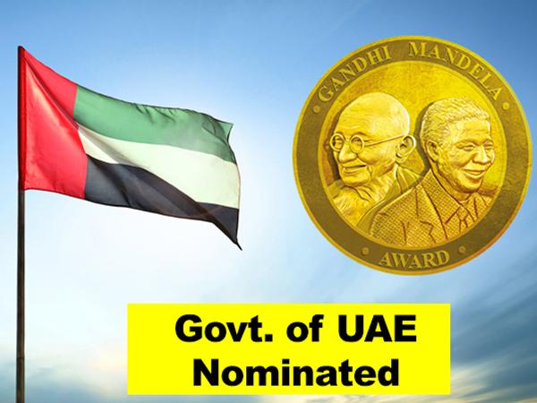 Govt. of UAE nominated for Gandhi Mandela Award 2019