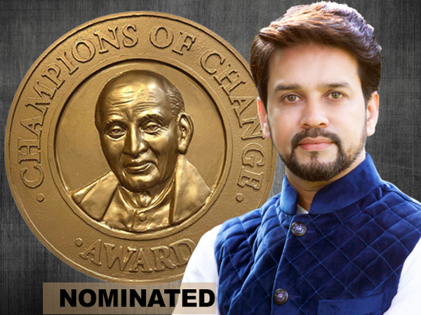 Anurag Thakur nominated for Champions of Change Award 2019